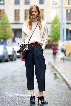 look beige turtleneck blue pants