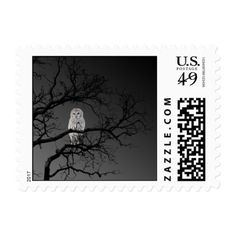 Scary Owl in a Tree Halloween Postage