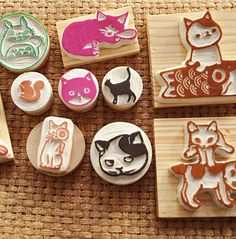 橡皮章,Stamp Carving Patterns, Simple Printmaking for Kids , Carving with  Eraser Carving, Stamps , Printing, Carving Tools, Pattern, Template, Idea, Art Teacher, Art  Design, DIY , Japanese, Activities for Kids,Animal , Cute, Adorable
