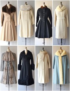 Various vintage coats. Bottom row, 3rd one over for Francis