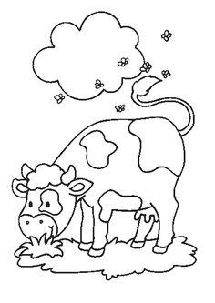 Une jolie vache qui se repose dans son pré, à colorier