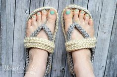 Make these summer slippers with Hometown USA! Women's Strap Flip-Flops Slippers pattern by Bethany Dearden