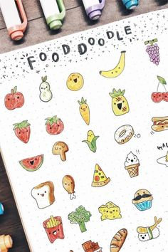 If you're changing up your theme or just want to add some decoration to your spreads this month, check out these super fun step by step food themed doodle tutorials to try in your bullet journal! Bullet Journal Writing, Bullet Journal Aesthetic, Bullet Journal Ideas Pages, Journal Pages, Food Doodles, Bujo Doodles, Fruit Doodle, Easy Doodle Art, Cute Easy Drawings