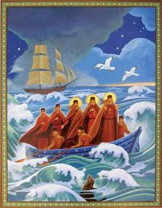 First Mission to Alaska Saints Herman, Juvenaly, and Ioasaph come ashore, bringing the Orthodox Faith to the New World. Religious Icons, Religious Art, Religious Images, History Icon, Medieval, Religion, Russian Orthodox, Byzantine Icons, Custom Icons