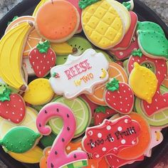2nd Birthday Party For Girl, Birthday Party Themes, Party Food Bars, I Party, Party Ideas, Sunshine Birthday, Shaped Cookie, Tutti Frutti, Birthday Cookies