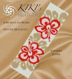 Peyote pattern for bracelet - Hawaiian flowers peyote bracelet pattern PDF instant download