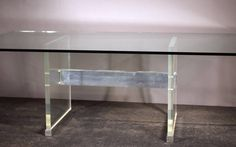 John Stuart Lucite and Metal Base with Glass Top Dining Table | From a unique collection of antique and modern dining room tables at https://www.1stdibs.com/furniture/tables/dining-room-tables/