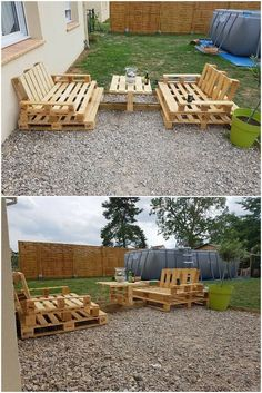 This whole outdoor wood pallet furniture set will give your house garden with the complete furnishing appearances. It is featuring with the contemporary and yet the antique reflection at the same time in its designs and styles. Assembling of the wood pallet planks has been done in the innovative variations. Did you like this whole furniture concept of wood pallet?