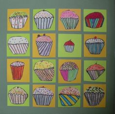 Choose a favorite food or object- create variations on it Art Auction Projects, Class Art Projects, Classroom Art Projects, Art Classroom, Auction Ideas, Classroom Ideas, Visual Art Lessons, Art Education Lessons, Square 1 Art