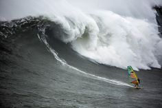 Australian windsurfer Jason Polakow, rode a wave at surfing 'mecca' Praia do Norte, in Nazaré, Portugal, one of the most westerly points of Europe. He had been preparing for two years. Red Bull, Waves, Seaside Resort, Windsurfing, Mecca, Portugal, Europe, Outdoor, Content