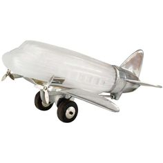French Art Deco Style Chrome and Glass Airplane Table Lamp 1