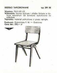 """Krzesło typ 299 (""""bumerang""""), Gościcińska Fabryka Mebli"""