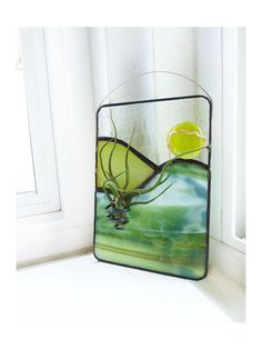 Stained Glass Panel Air Plant Holder Chartreuse and by glassetc, $28.99
