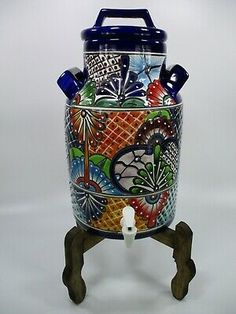 Mexican Home Decor, Mexican Folk Art, Sick Baby, Talavera Pottery, Hacienda Style, Water Dispenser, Tea Mugs, Art Day, Crock