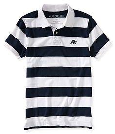 Aeropostale Mens Striped A87 Rugby Polo Shirt 102 M