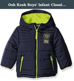 Osh Kosh Boys' Infant Classic Heavyweight Solid Puffer Coat, Navy, 24 Months. Classic heavyweight solid puffer coat with chest detail.