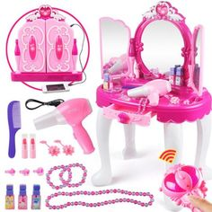 Princess Dressing Makeup Table Princess Girls Kids Vanity Table and Chair Beauty Play Set with Mirror Working Hair Dryer Pretend Princess Girls Makeup Accessories Pink Birthday Gift Image 1 of 9 Dressing Table Toy, Pink Dressing Tables, Pink Birthday, Birthday Gifts For Girls, Gifts For Kids, Makeup Toys, Kids Makeup, Makeup Set, Beauty Makeup