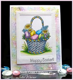 Easter basket card-colored & background created with Copics - North Coast Creations images