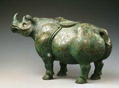 Wine container, zun, in rhinoceros shape, Western Han dynasty, 206 BCE-23 CE