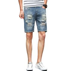 fbe326895f Aliexpress.com : Buy Summer New Men's Short Jeans 2017 Brand New Hole  Design Bermuda Shorts Men Fashion Slim Fit Knee Length Ripped Jeans Homme  Blue from ...