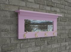 Pink entry mirror with brass color hooks ( wall coat rack,wall hook,wall hooks,entry coat hooks, wall fixture, )