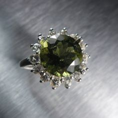 3.30cts Rare Natural Olive Green moldavite & white topaz by EVGAD