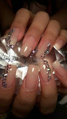 39 Ideas Nails Acrilico Naturales Elegantes For 2019 Manicure Nail Designs, Manicure E Pedicure, Bling Nails, Fun Nails, Glitter Nails, Nails Design With Rhinestones, Finger, Rose Nails, Super Nails