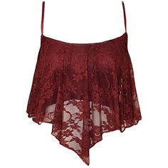 Asher Papermoon Womens Lace Camisole Crop Top L Wine >>> Want additional info? Click on the image.