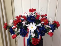 Red, white, & blue tomb topper