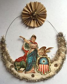 Antique Victorian Patriotic Christmas scrap and Spun Cotton Ornament. Victorian Christmas Decorations, Antique Christmas Ornaments, Paper Ornaments, Vintage Ornaments, Christmas Tree Ornaments, Christmas Crafts, Father Christmas, Shiny Brite Ornaments, Patriotic Decorations
