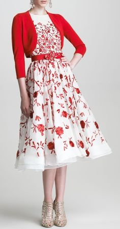 Oscar de la Renta, bolero and sleeveless embroidered dress.