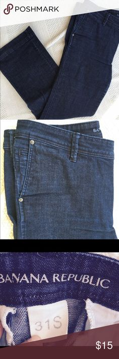 Banana Republic trouser style jeans Great for business casual wear! Medium to dark wash trouser cut jeans. Size 31S. Banana Republic Jeans