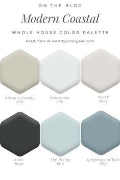 Coastal Color Palettes, House Color Palettes, House Color Schemes, Beach Color Schemes, Coastal Paint Colors, Paint Colors For Home, Beach House Colors, Beach House Decor, Beach Houses