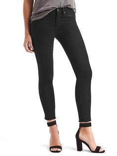 "Gap Our slimmest cut. Made to flatter. Premium, medium stretch sateen denim. Black wash. Zip fly, button closure. Five pocket styling. Raw hem. Fit: Slim through the hip and thigh. Cut: Mid rise. Leg opening: Skinny, skims the ankle. Inseam: regular 27.5""/70 cm, tall 31.5""/80 cm, petite 25""/64 cm. Model is 5'9""/ cm, waist 25""/64 cm, hips 35.5""/90 cm, wearing a regular Gap size 27."