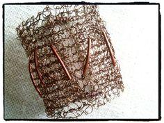 Antique brass Knit wire cuff bracelet