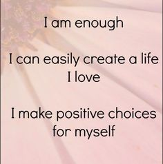 Positive affirmation: All is well in the world. I am enough. I can easily create a life I love. I make positive choices fo myself Positive Affirmations For Success, Daily Affirmations, Morning Affirmations, Motivational Words, Inspirational Quotes, Daily List, Understanding Anxiety, Negative Thinking, Education Humor