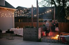 lights, fire, raised flower beds