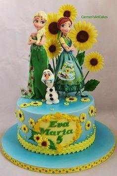 Frozen Fever 5th Birthday Cake made by Carmen's Art Cakes
