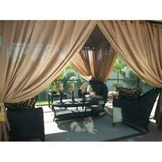 Patio curtains use burlap [would make my patio look so much nicer & dramatic. have a roll of burlap too!]