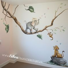 Mural lion King and jungle book together. Baby Room Themes, Boy Nursery Themes, Baby Boy Room Decor, Baby Room Design, Baby Boy Rooms, Nursery Design, Baby Elephant Nursery, Deer Nursery, Jungle Theme Nursery