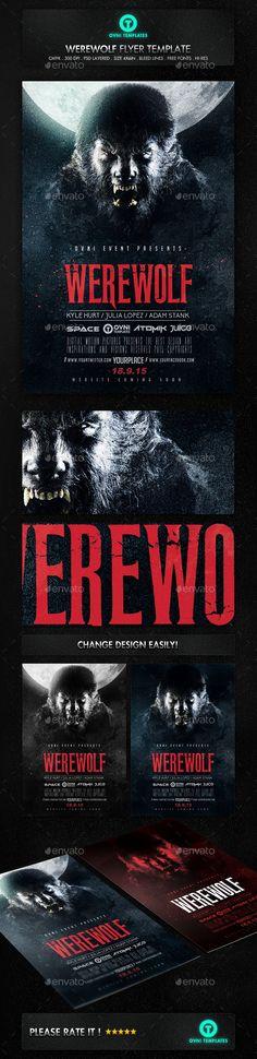 Werewolf Dark Horror Movie Flyer Poster Template PSD #design Download: http://graphicriver.net/item/werewolf-dark-horror-movie-flyer-poster-template/12871169?ref=ksioks
