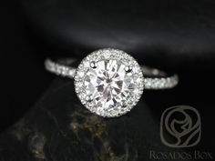 Callie 6.5mm 14kt White Gold Round FB Moissanite and Diamonds Halo Engagement Ring (Other metals and stone options available)