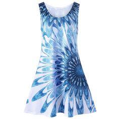 Plus Size Floral Sleeveless Mini Tank Dress - Blue - Plus Size Mini Dresses, Purple Mini Dresses, Plus Size Dresses, Plus Size Outfits, Floral Shirt Dress, Tank Dress, Floral Dresses, Chiffon Dresses, Maxi Dresses
