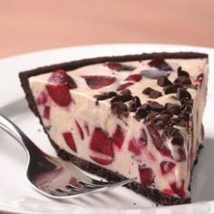 Cherry Ice Cream Pie with Chocolate Cookie Crust Recipe  (The cherries were looking pretty good in the grocery store this weekend. CBS)