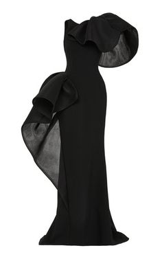 This **Maticevski** Nocturnal Ruffle Neck Gown features an exaggerated left ruffled shoulder, a fitted silhouette, and an asymmetrical hemline. Dinner Outfits, Dress Outfits, Fashion Dresses, Classy Dress, Classy Outfits, Elegant Dresses, Beautiful Dresses, Couture Dresses, Dress To Impress