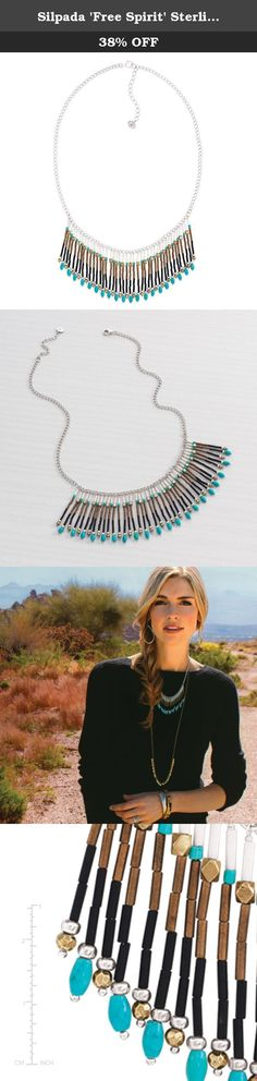 """Silpada 'Free Spirit' Sterling Silver, Brass, Howlite and Glass Fringe Necklace, 18+2"""" Extender. Head west with this colorful Free Spirit fringe necklace from the Sterling Silver Collection. Its swingy fringe pieces feature hues of brown, black, gold, and turquoise totaling 69 5/8 ct that are guaranteed to make a stylish statement. Rock it with a fringe duster cardigan and your favorite booties to gallop into free-spirited style. The curb-style chain measures 18 inches in length with a..."""
