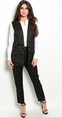 Women 2 Piece Pinstripe Suit