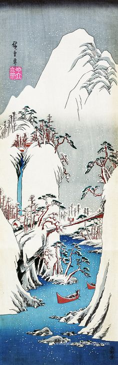 Japanese Fine Art Reproduction, Ukiyo-e Art Print, Going up the Fuji River, 1830, Utagawa Hiroshige, Landscape Art, Winter Snow River Boat