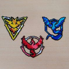 Pokémon Go Teams! #PokemonGo #teaminstinct #teamvalor #teammystic #hamabeads #perlerbeads #hama