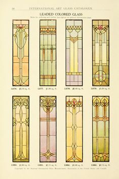 View the stained glass windows that were commercially available during the Art Nouveau era of The below plates are from the 1914 catalog of the National Ornamental Glass Manufacturers Association of the United States and Canada. Stained Glass Designs, Stained Glass Projects, Stained Glass Patterns, Mosaic Patterns, Motif Art Deco, Art Nouveau Design, Stained Glass Angel, Stained Glass Windows, Leaded Glass